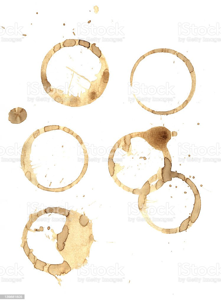 Coffee rings and splatter royalty-free stock photo