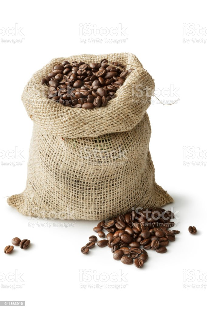 Coffee: Roasted Coffee Beans in Sack Isolated on White Background stock photo