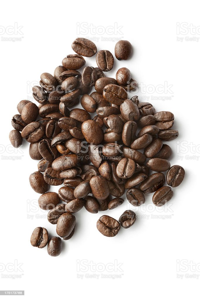 Coffee: Roasted Coffee Beans Isolated on White Background stock photo