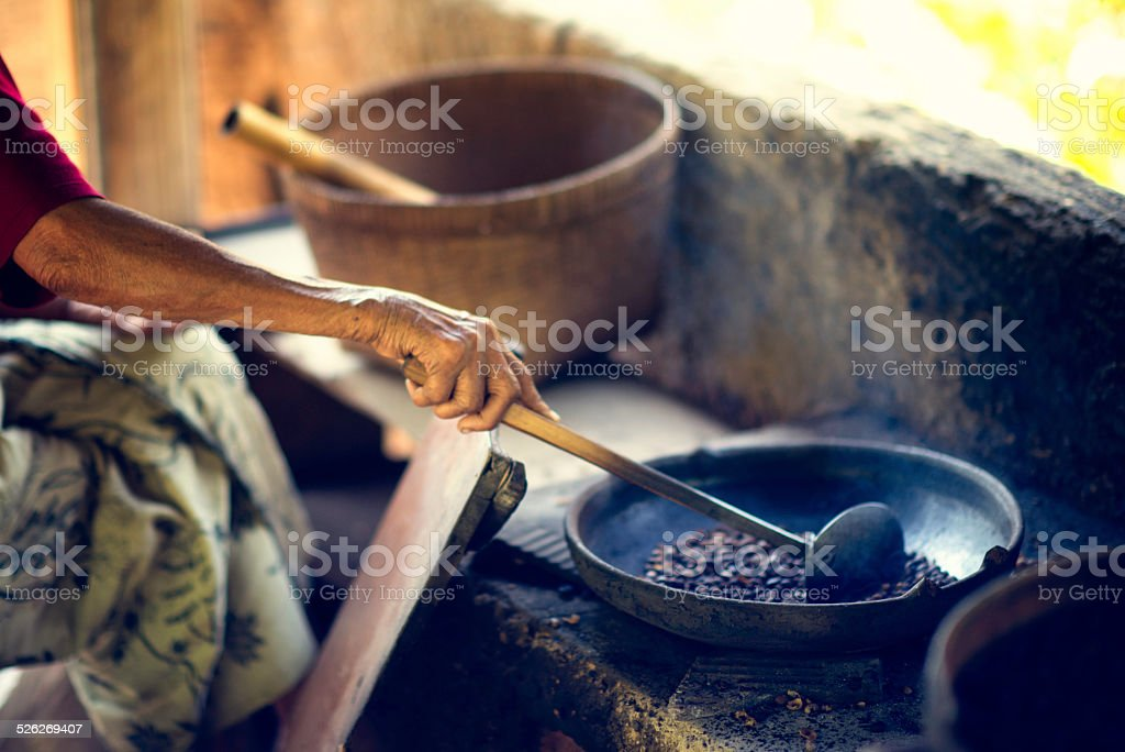 Coffee Roasting - Traditional Method stock photo