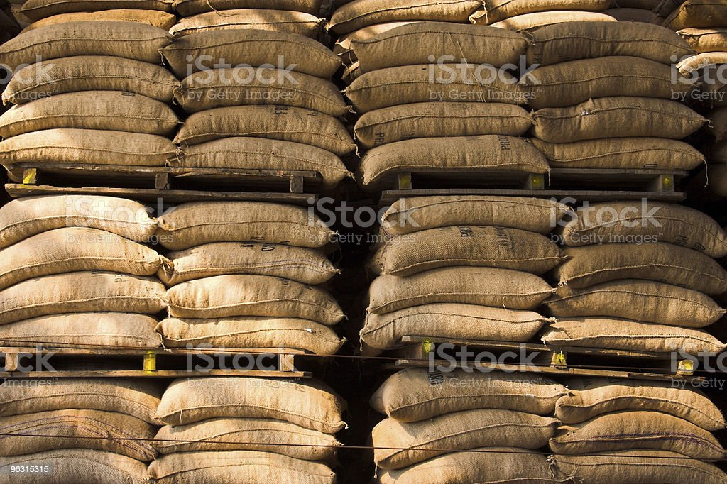 coffee sack stack royalty-free stock photo