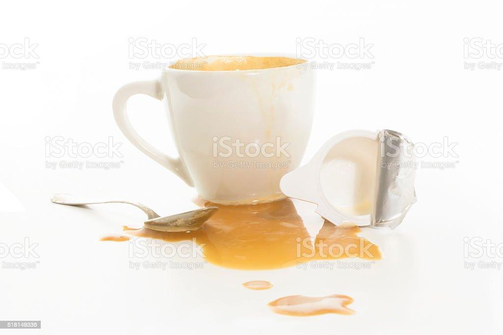 coffee sains and creamer cup stock photo