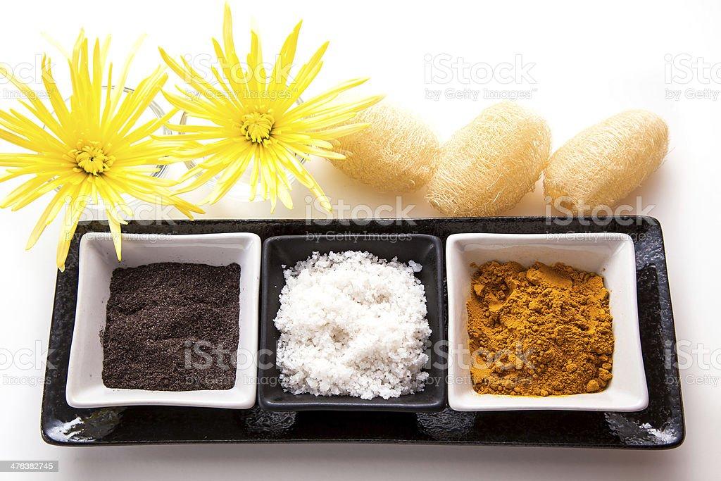 Coffee, Salt and Turmeric Scrub stock photo