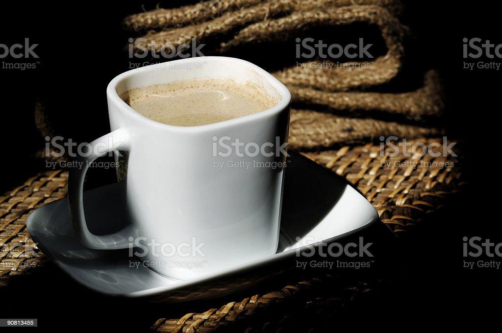 coffee scene, cup saucer, hessian sack royalty-free stock photo