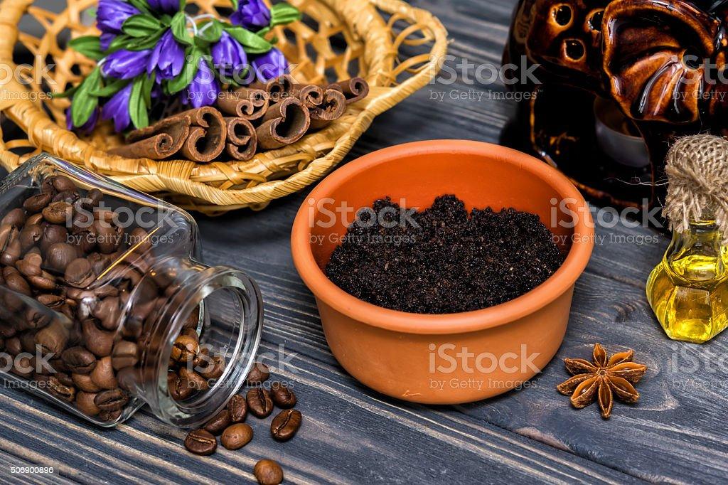 Coffee scrub bodycare stock photo