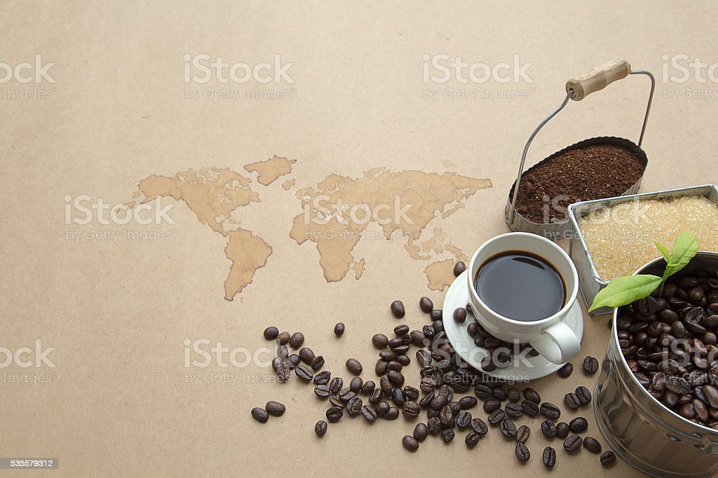 Coffee Set, cup of coffee, coffee beans, sugar royalty-free stock photo