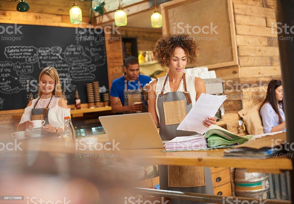 Coffee shop bills stock photo