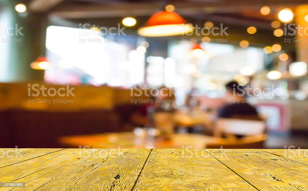 Coffee shop blur background with bokeh image. stock photo