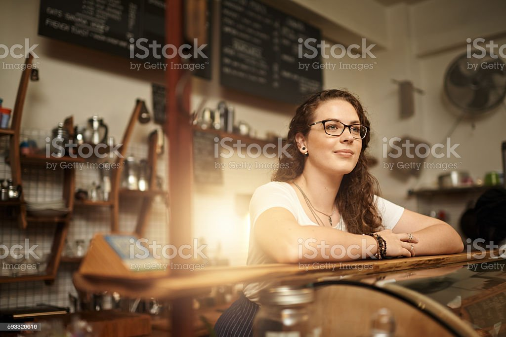 Coffee shop contemplation stock photo