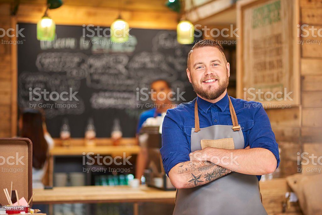 Coffee shop entrepreneur stock photo