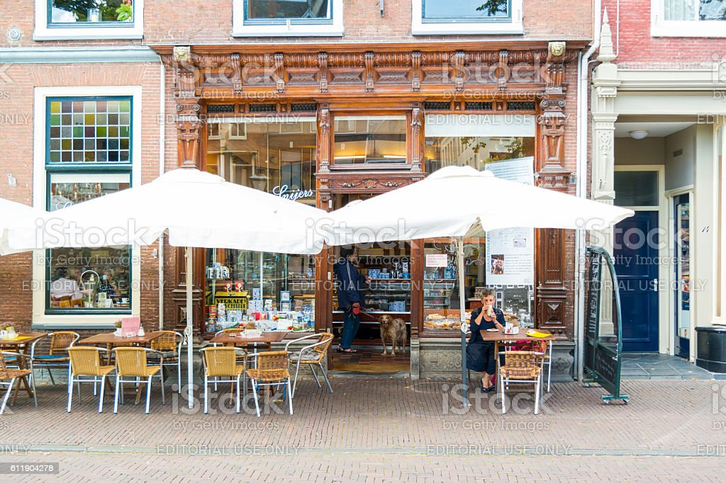 Coffee shop in Leiden, Netherlands stock photo
