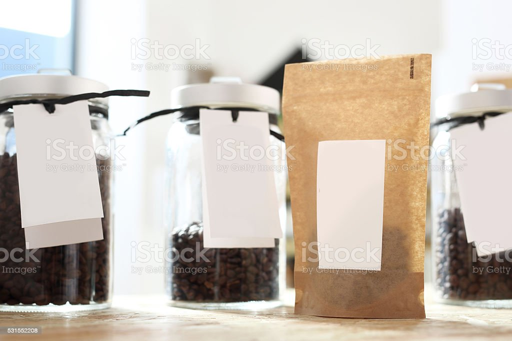 Coffee shop, jars of coffee beans stock photo