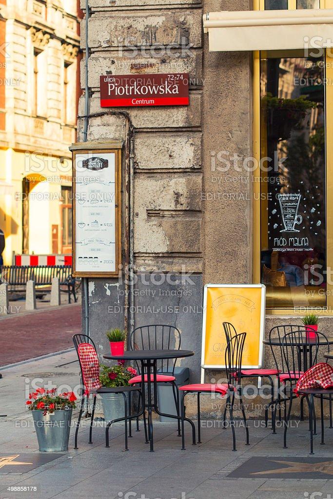 Coffee shop located on Piotrkowska street in Lodz stock photo