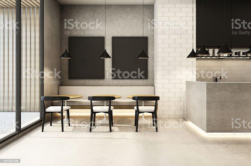 Coffee Shop Loft & modern - 3D render stock photo