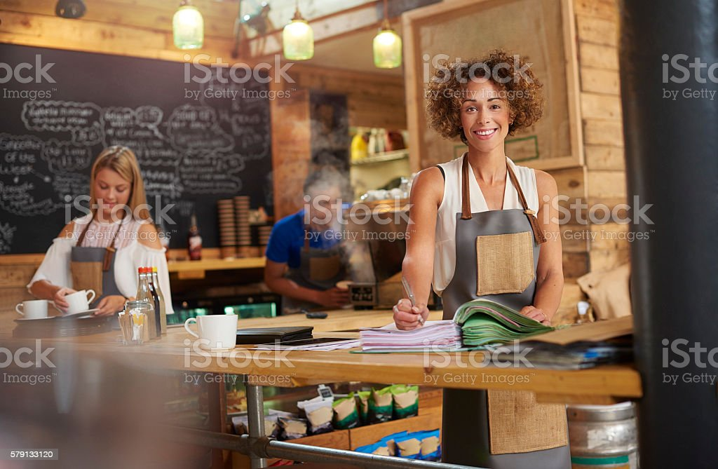 Coffee shop owner stock photo