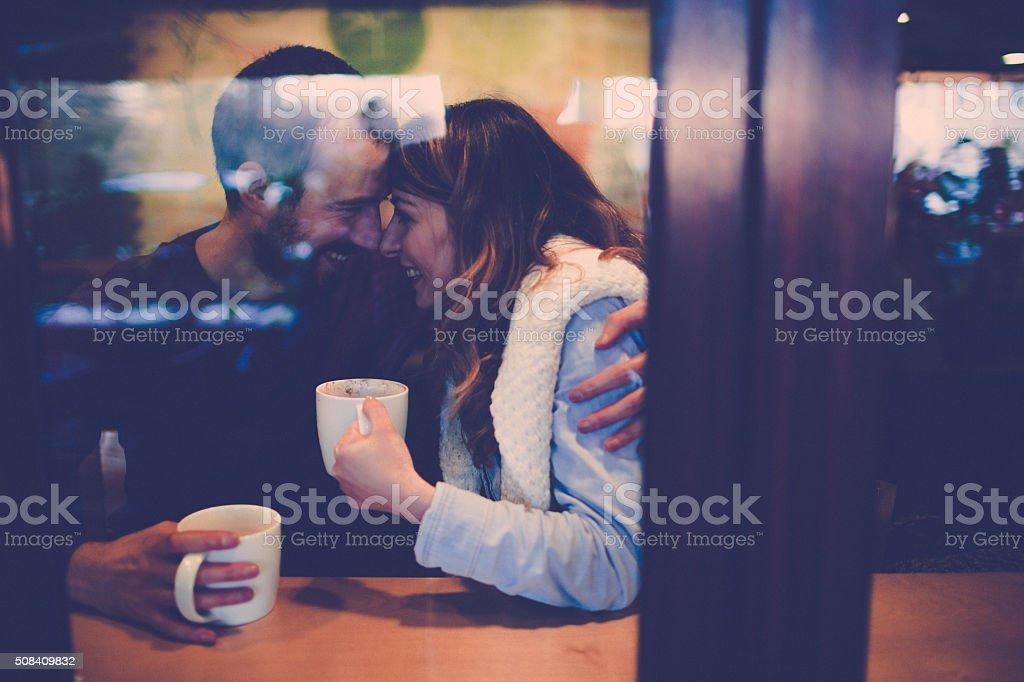 Coffee shop romance stock photo