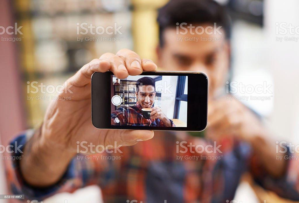 Coffee shop selfie stock photo