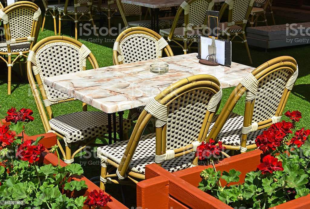 Coffee shop tables outdoors stock photo