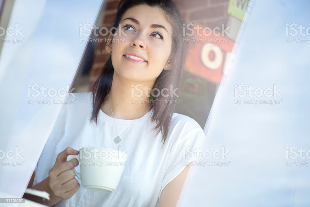 coffee shop teenager girl royalty-free stock photo