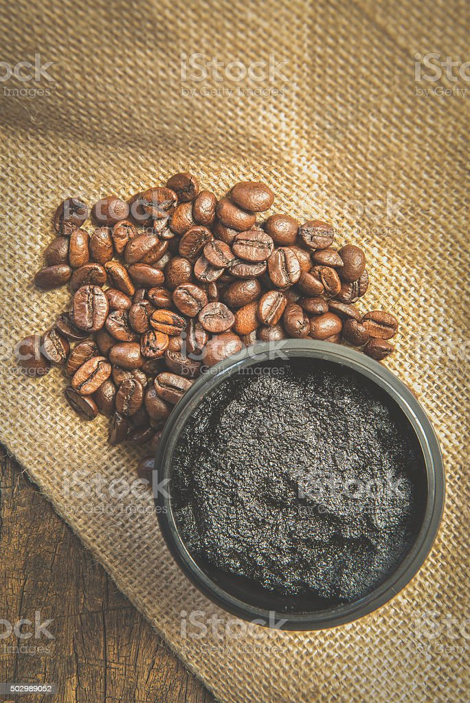 coffee soap scrub still life style. stock photo