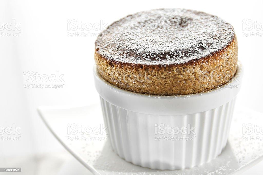 Coffee souffle prepared in a white bowl stock photo