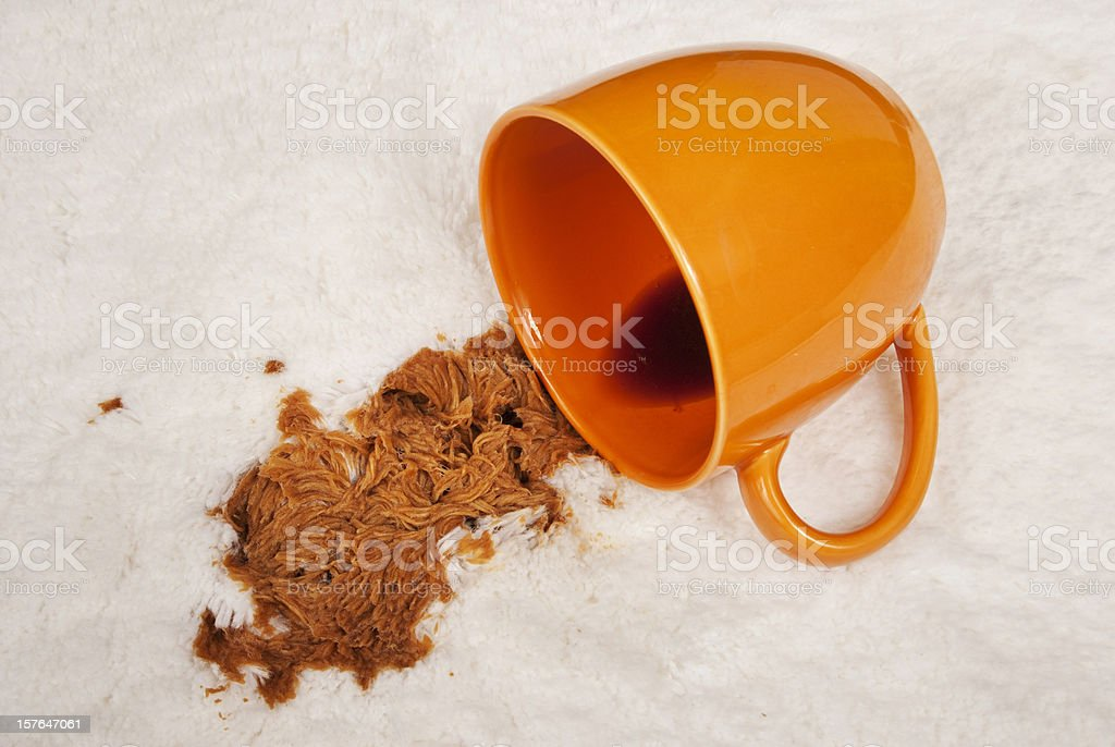 Coffee Spill On White Carpet stock photo