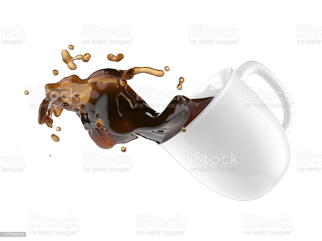 Coffee spilling out of white mug while falling royalty-free stock photo