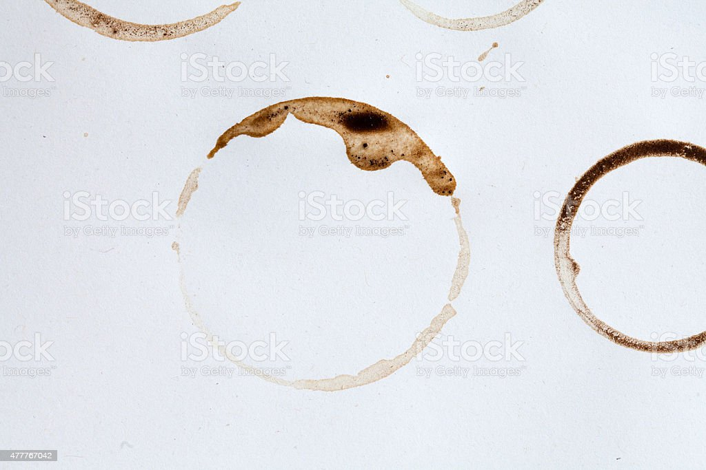 Coffee stain circles stock photo