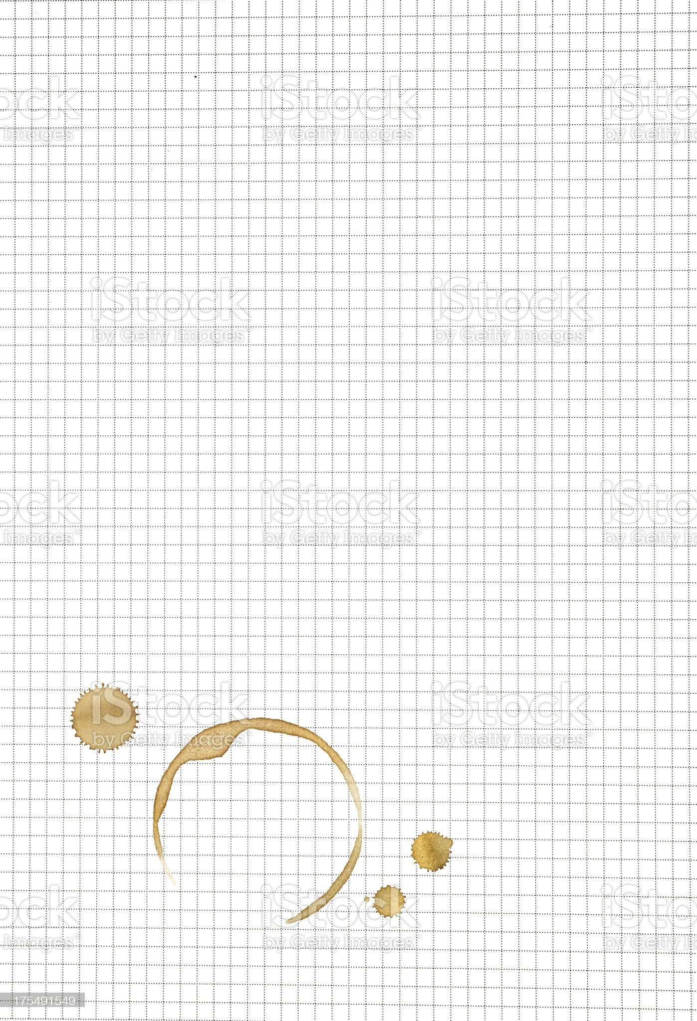 coffee stain Klecks on working paper royalty-free stock photo