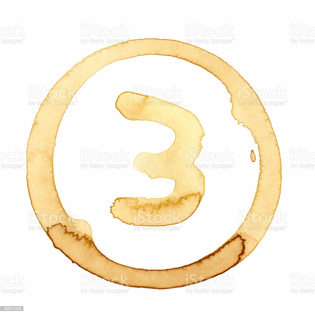 Coffee Stain Number Series (THREE) royalty-free stock photo