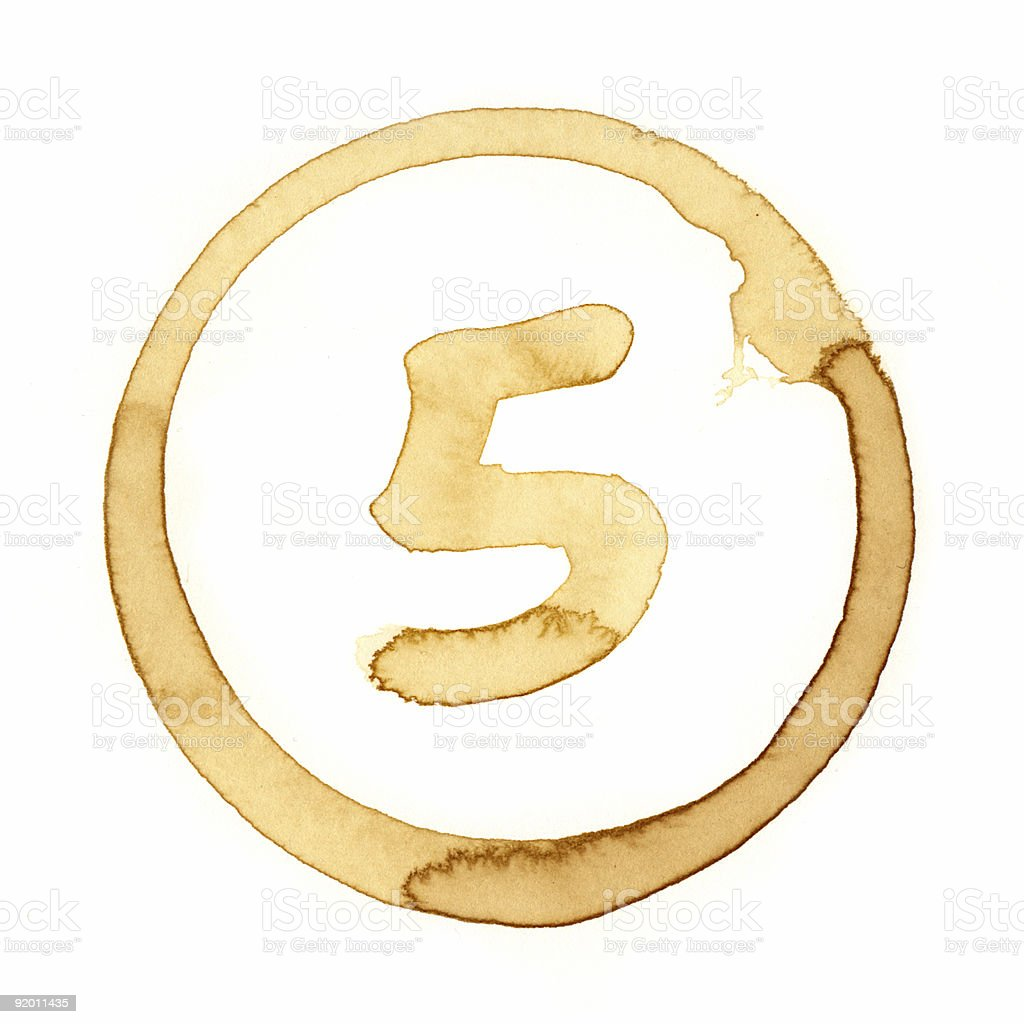 Coffee Stain Number Series (FIVE) royalty-free stock photo