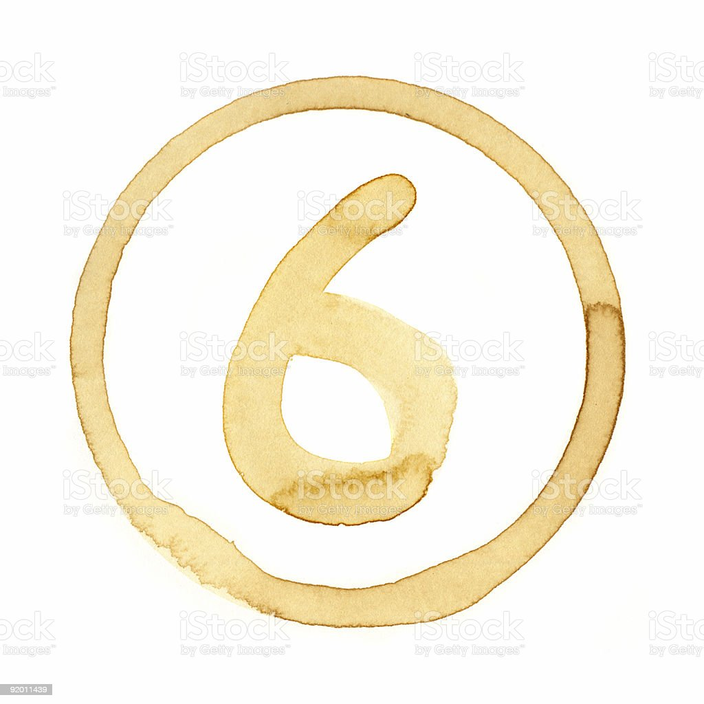 Coffee Stain Number Series (SIX) royalty-free stock photo