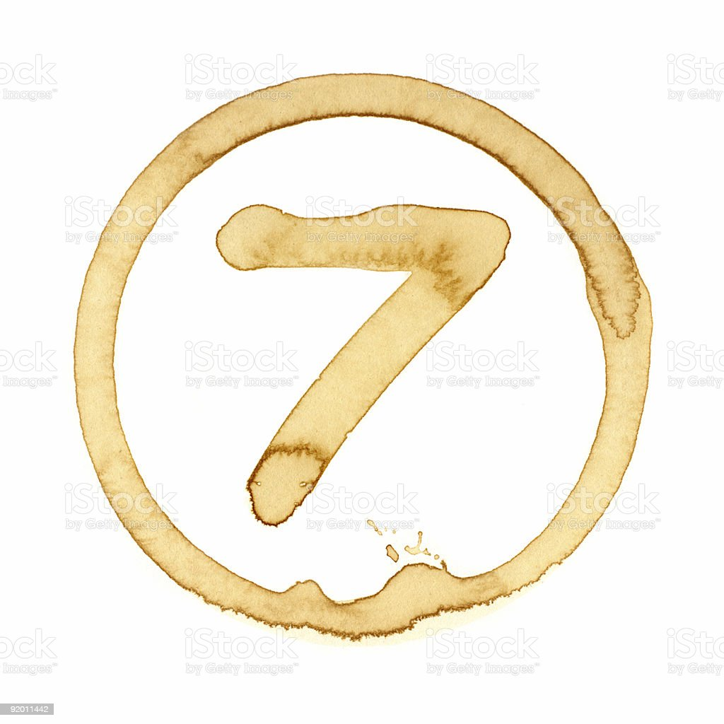 Coffee Stain Number Series (SEVEN) royalty-free stock photo