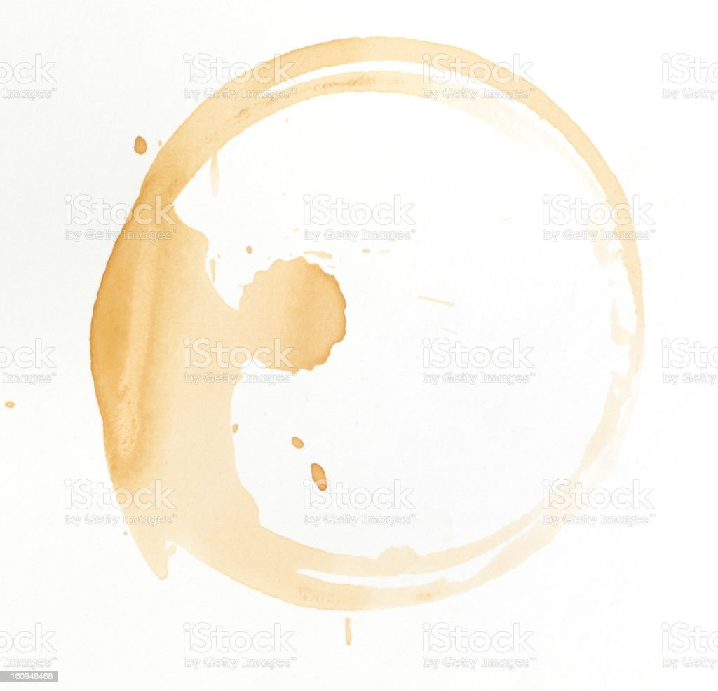 coffee stain on white background stock photo