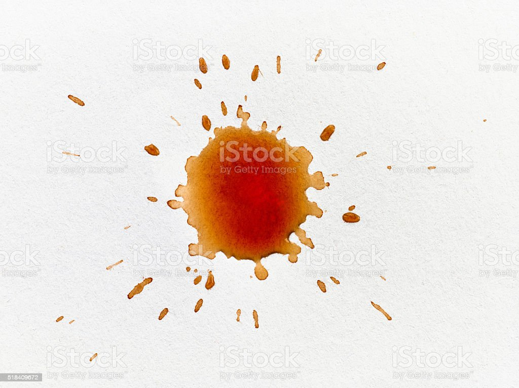 coffee stain on white paper stock photo