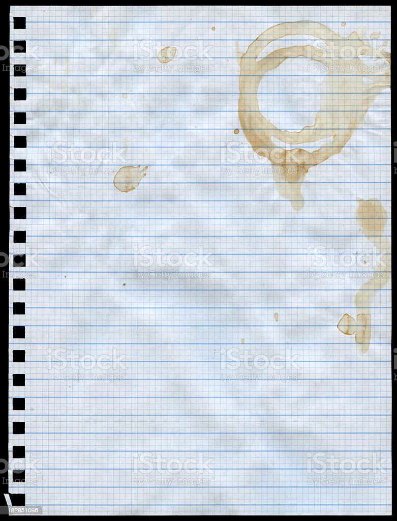 coffee stained graph paper royalty-free stock photo