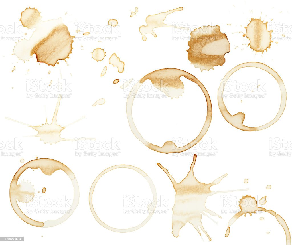 Coffee stains and splatters design pack stock photo