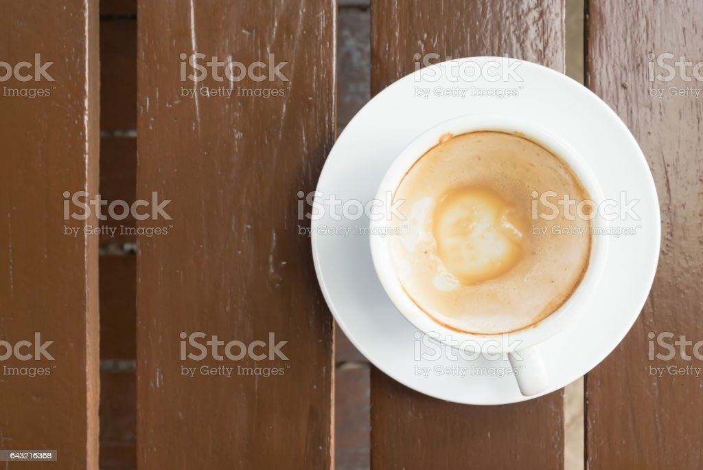 Coffee stains on a cup of cappuccino coffee on a table. stock photo
