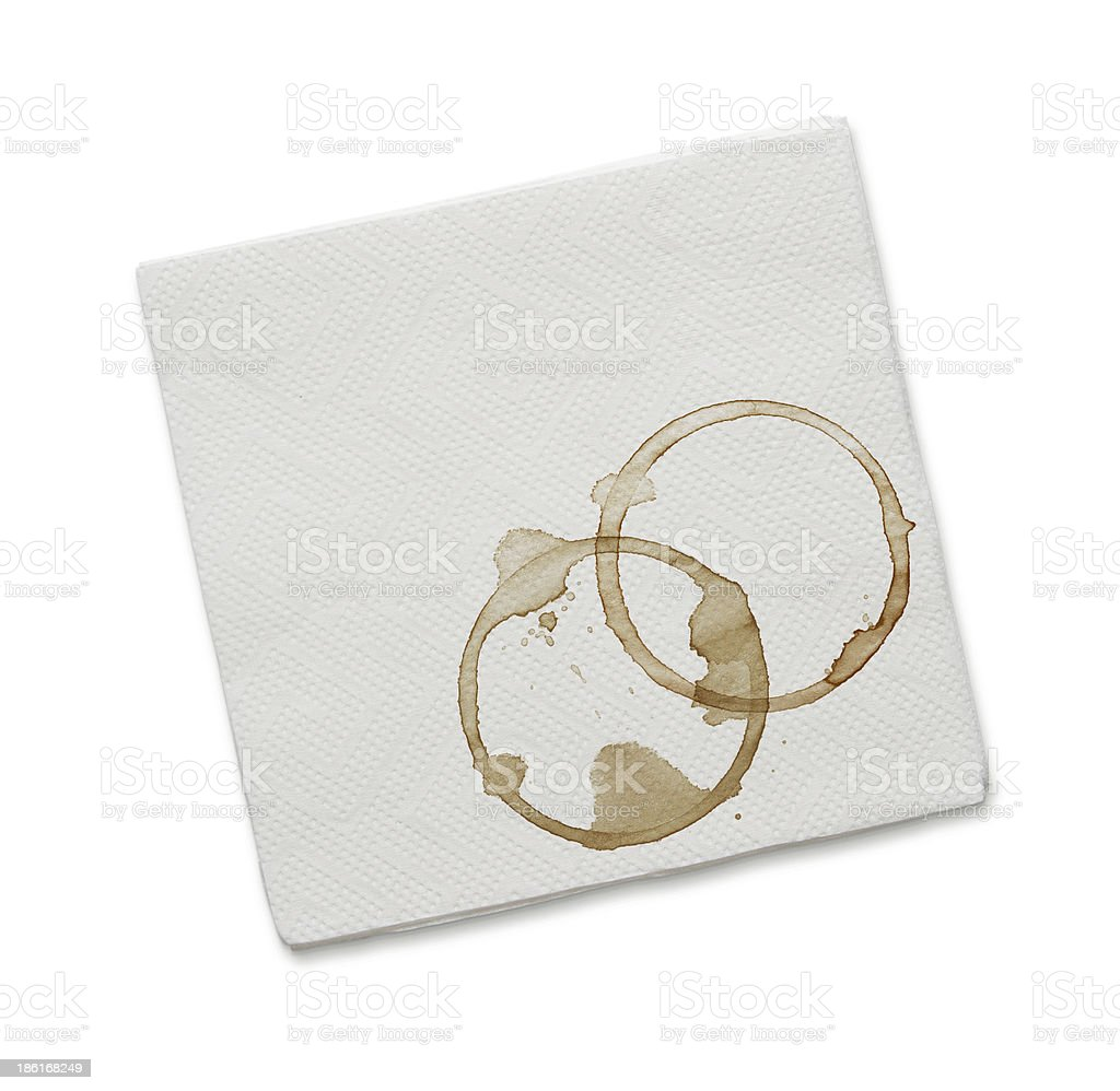 Coffee stains on the napkin stock photo