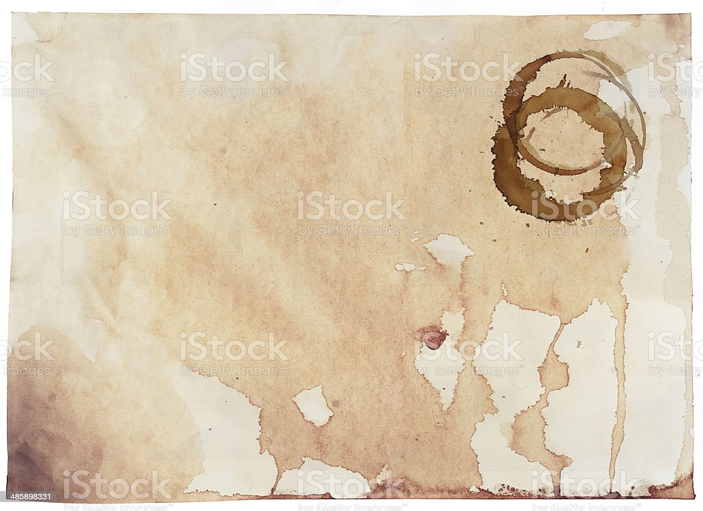 coffee stains on the paper stock photo
