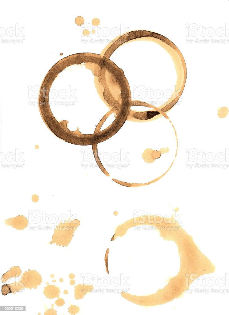 Coffee stains on white background stock photo