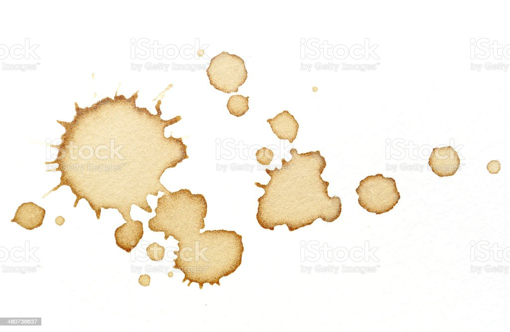 Coffee stains on white paper royalty-free stock photo