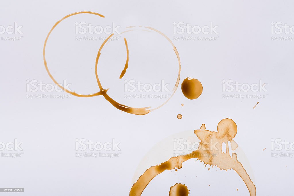 coffee stains on white stock photo