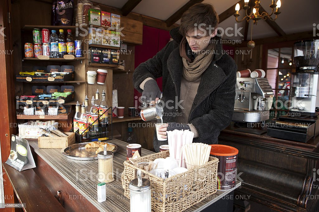 Coffee stall, Camden Market, London. stock photo