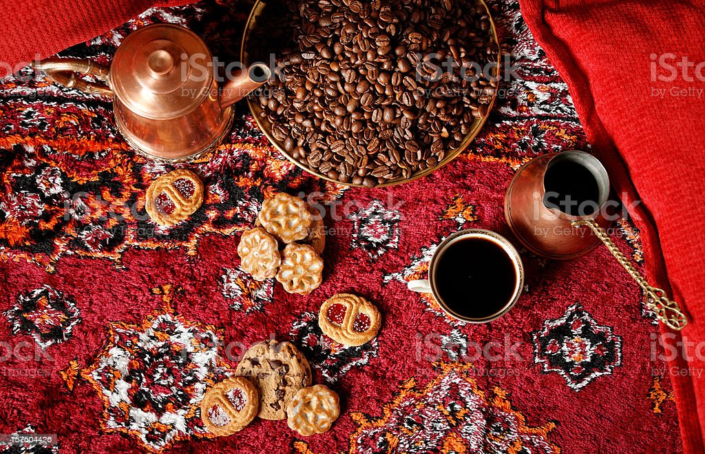 Coffee still life from above royalty-free stock photo