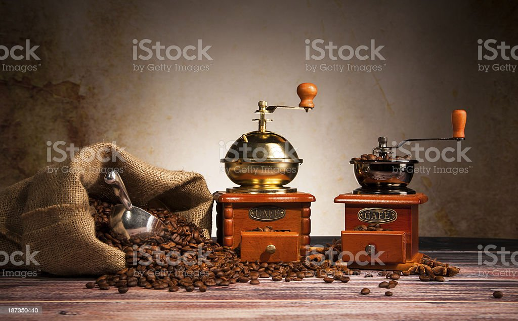 Coffee still life with wooden grinder royalty-free stock photo