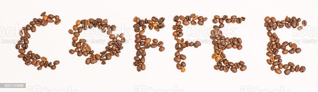 Coffee subtitle - coffee beans stock photo