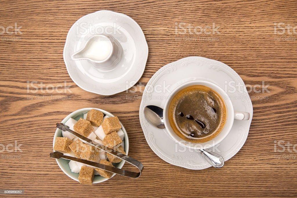 coffee, sugar, milk stock photo
