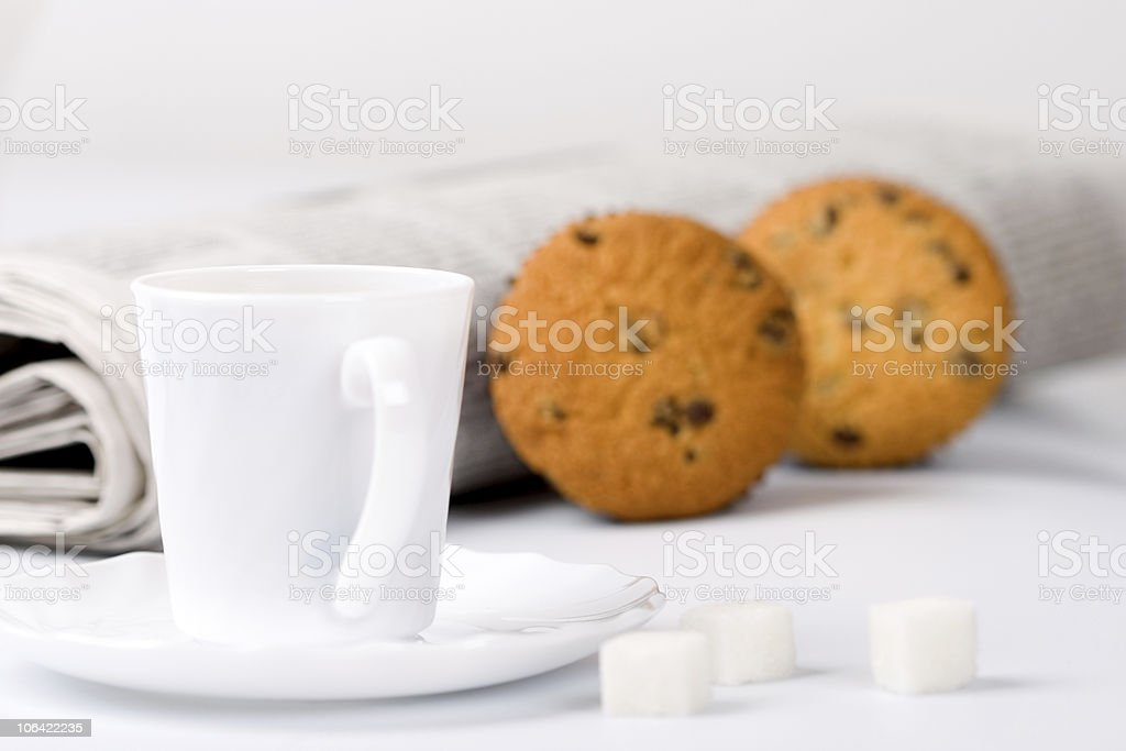 coffee, sugar, muffins and newspapers royalty-free stock photo