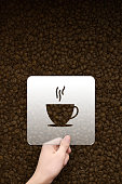 coffee symbol message box with coffee beans background